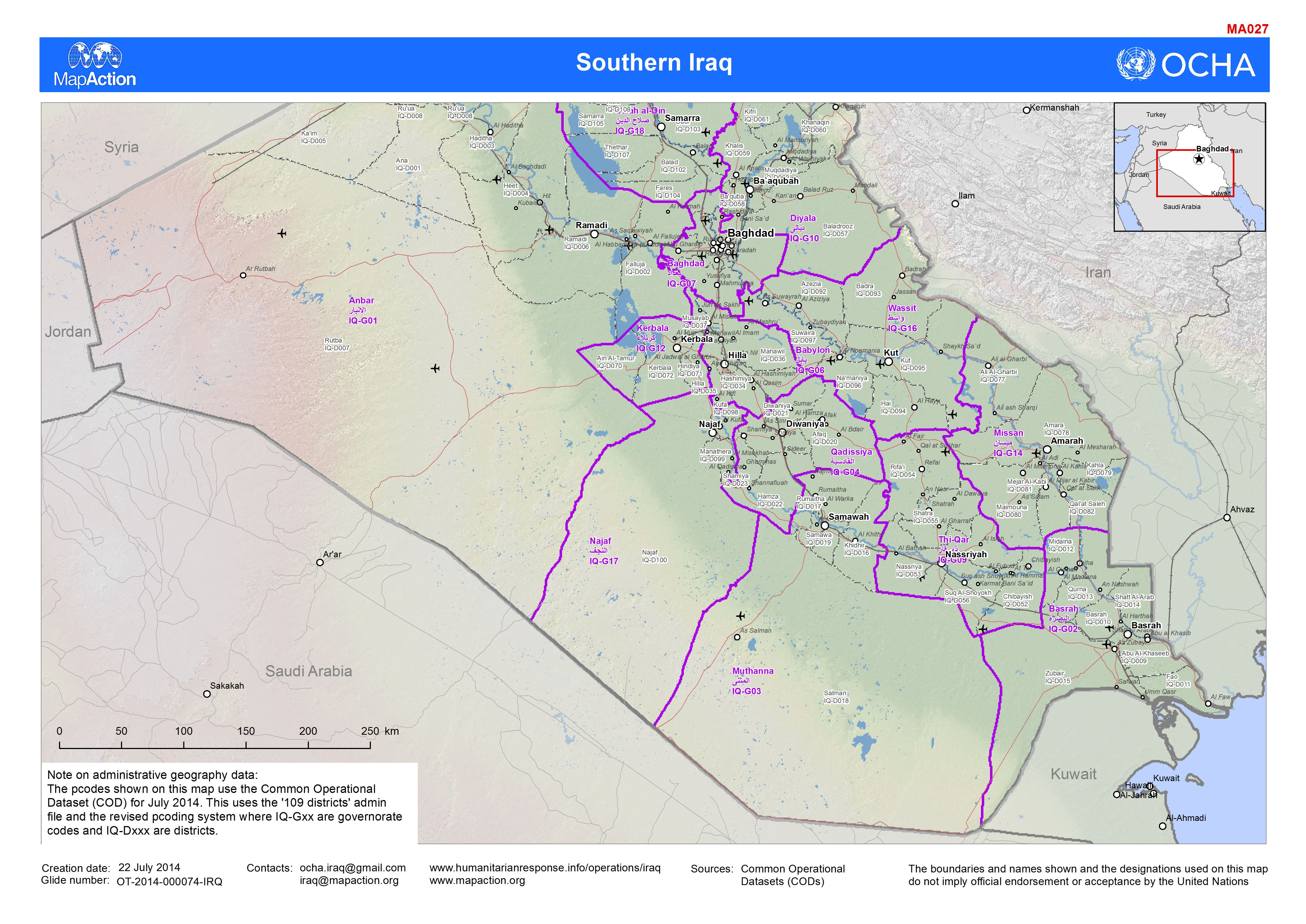 Iraq conflict, June 2014 - MapAction