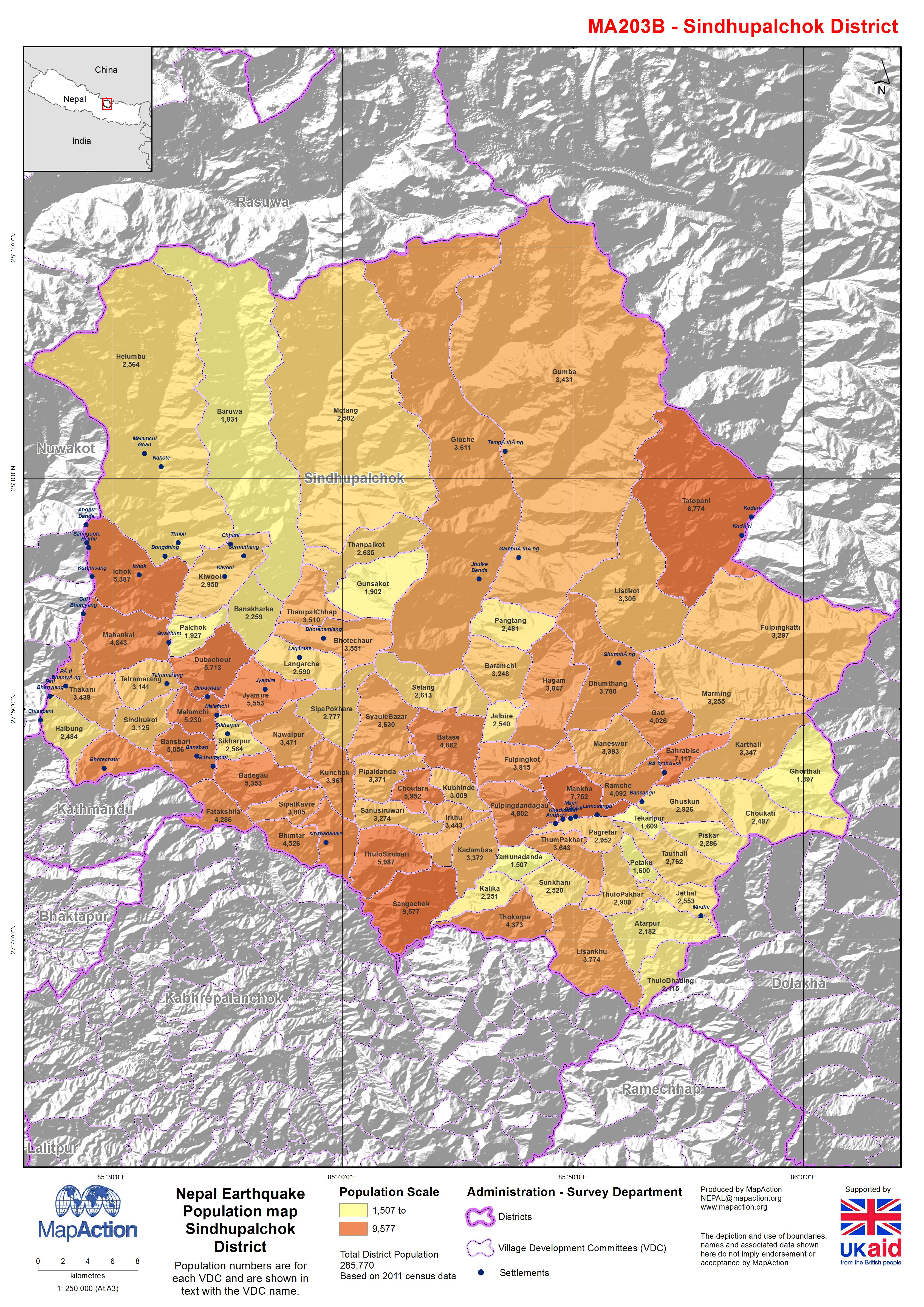 Nepal: Earthquake - Population map Sindhupalchok District