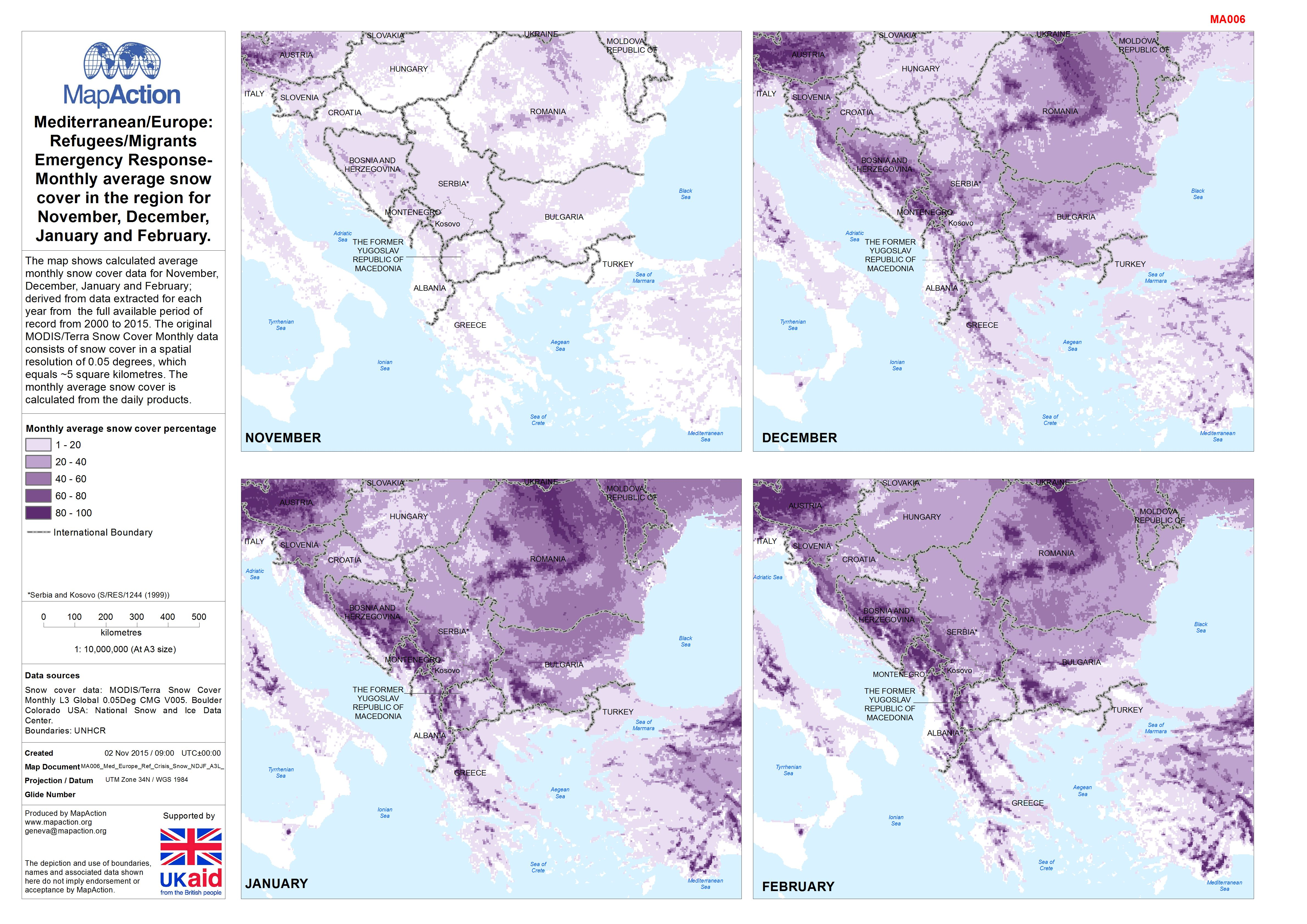 Snow Cover Map Europe.Mediterranean Europe Refugees Migrants Emergency Response Monthly