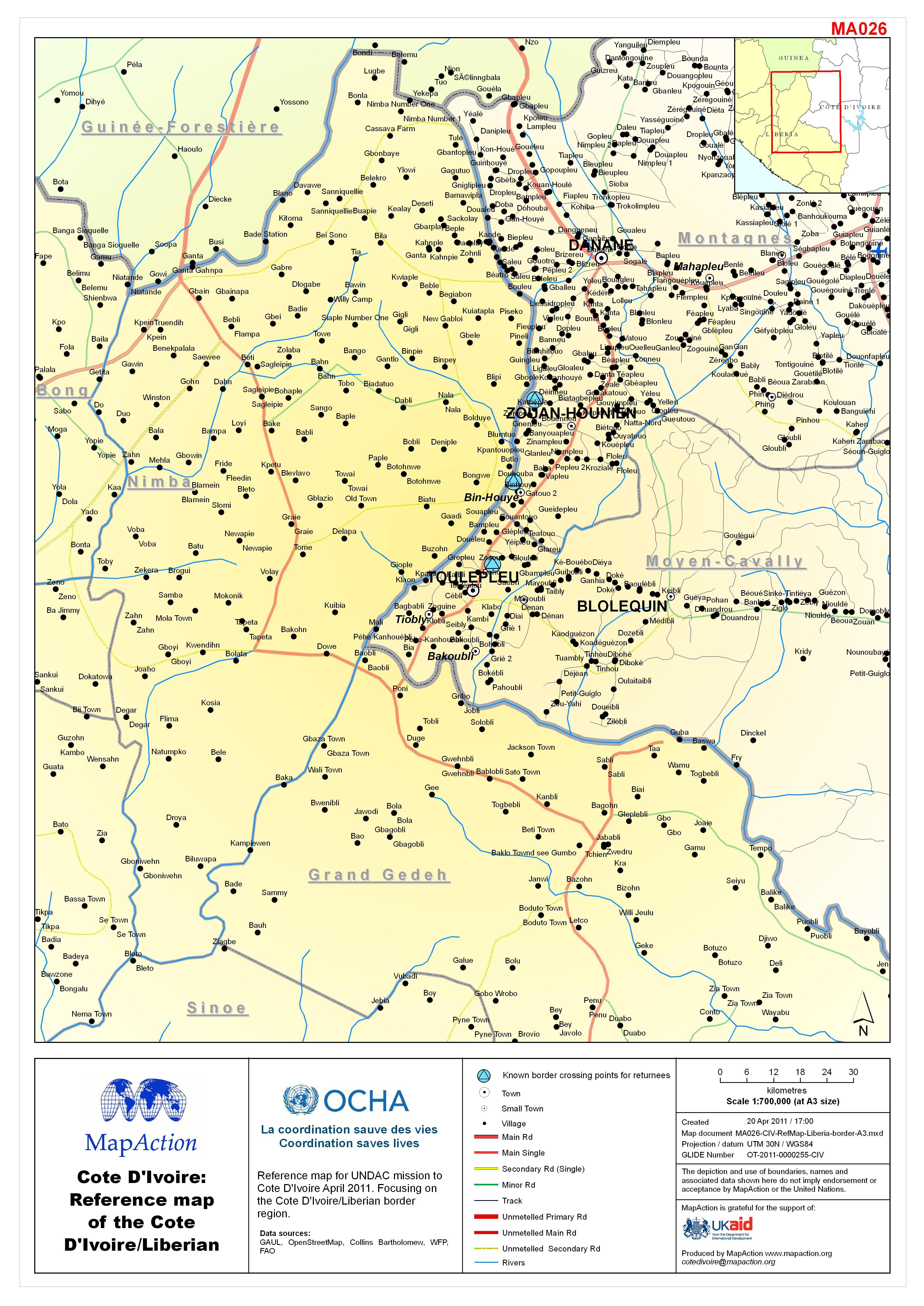 Côte d\'Ivoire: Reference map of the Côte d\'Ivoire/Liberian border ...
