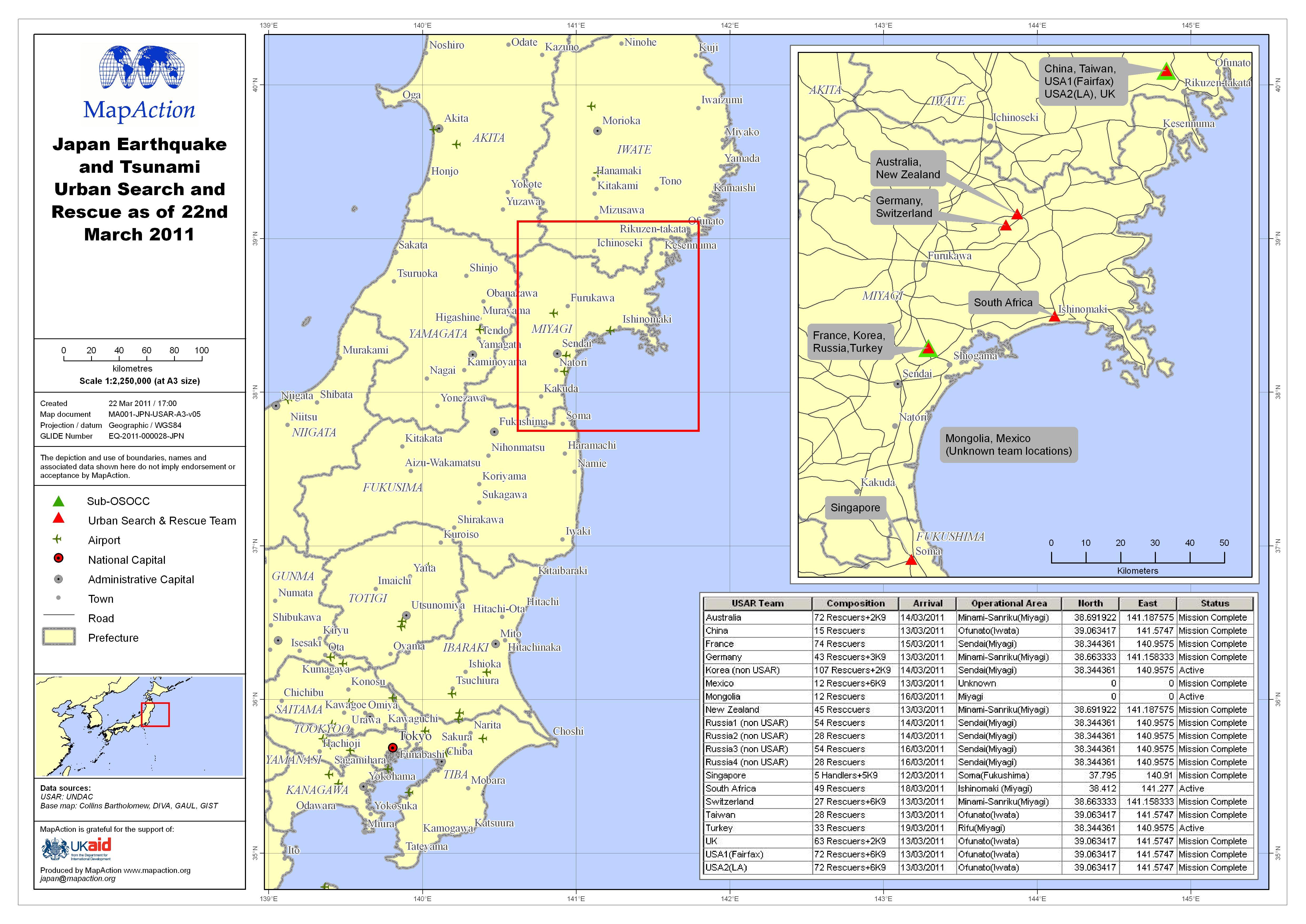 Earthquake And Tsunami Japan March MapAction - Japan 2011 map
