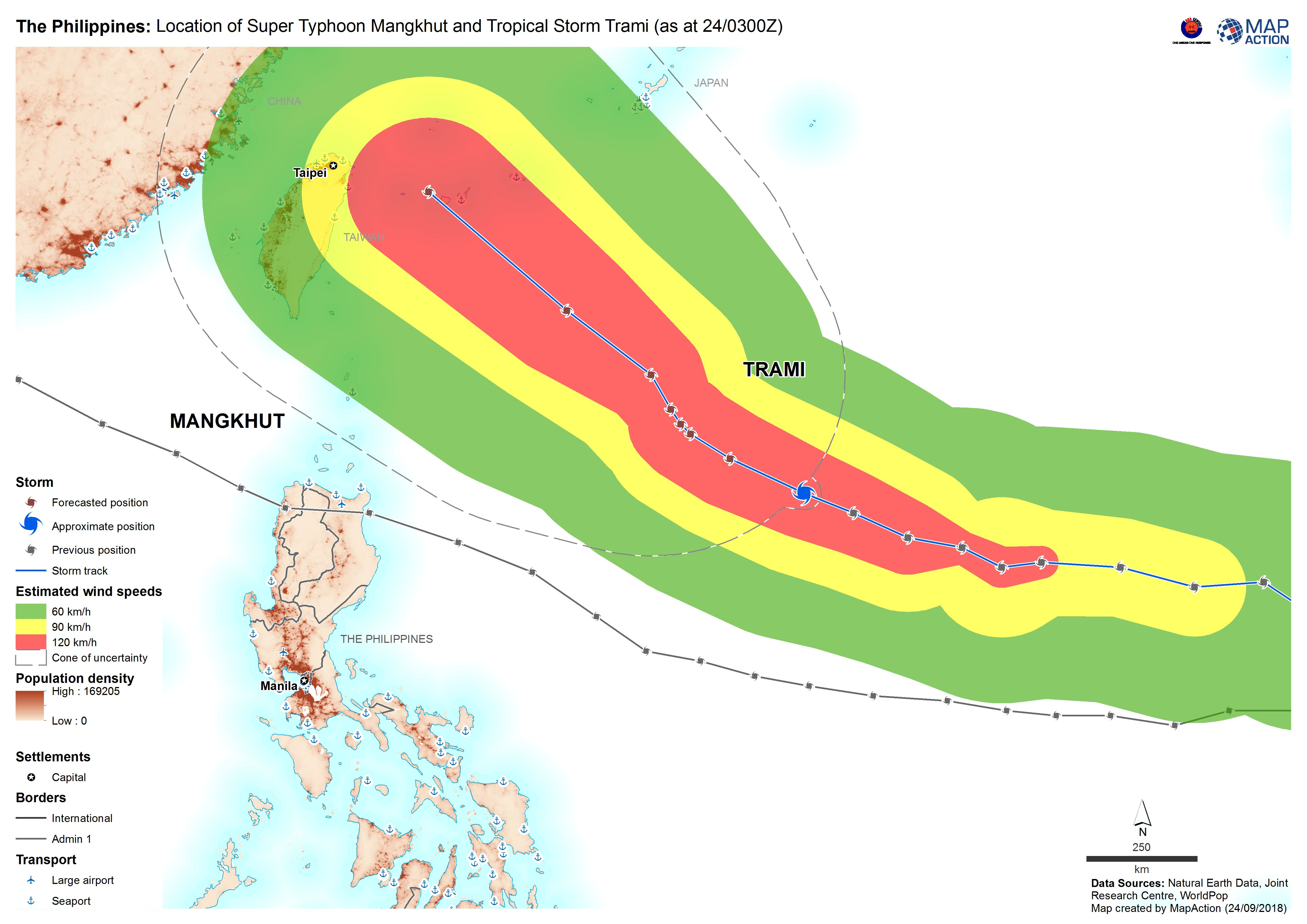 The Philippines: Location of Super Typhoon Mangkhut and