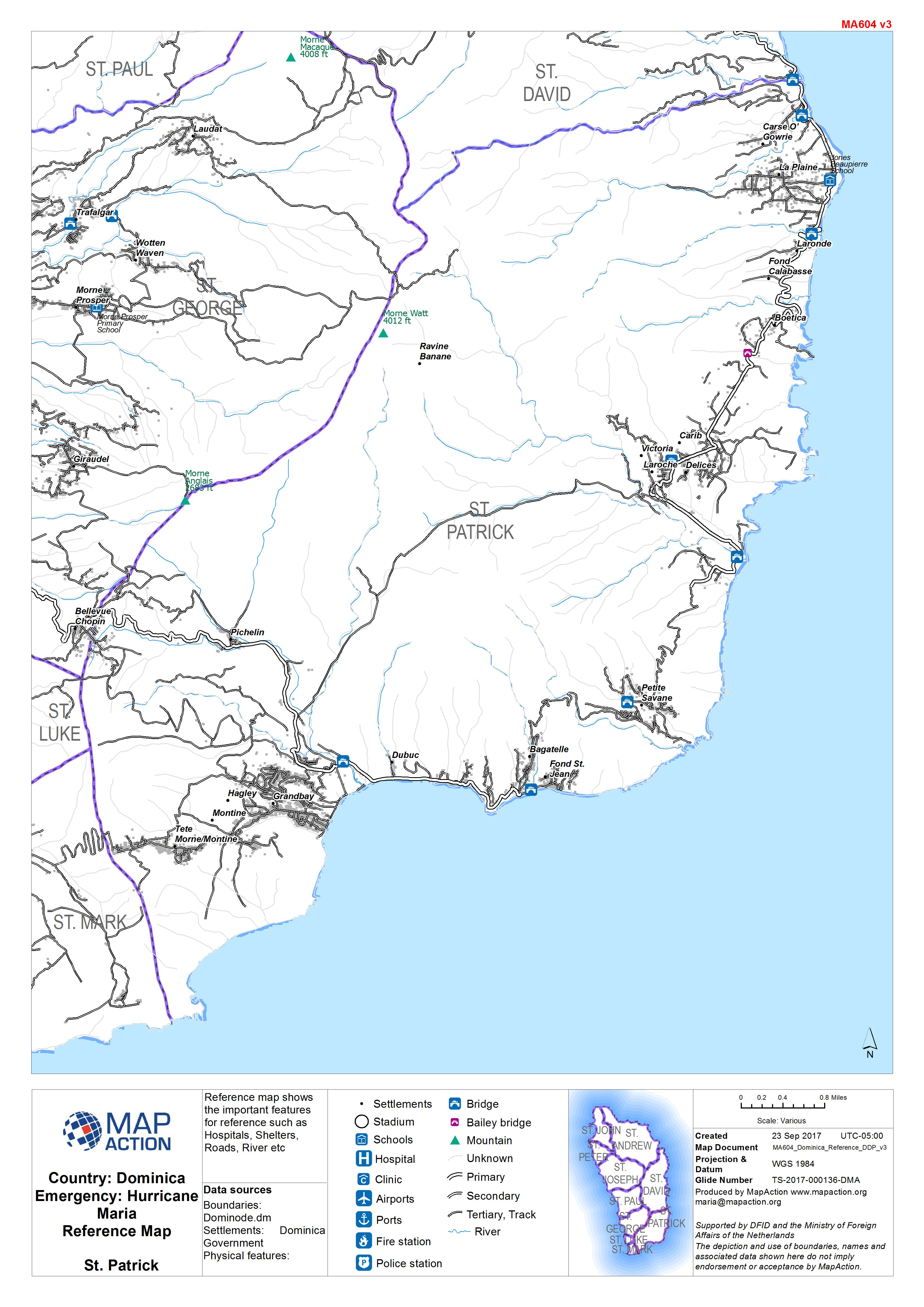 Datasets MapAction - Physical map of dominica