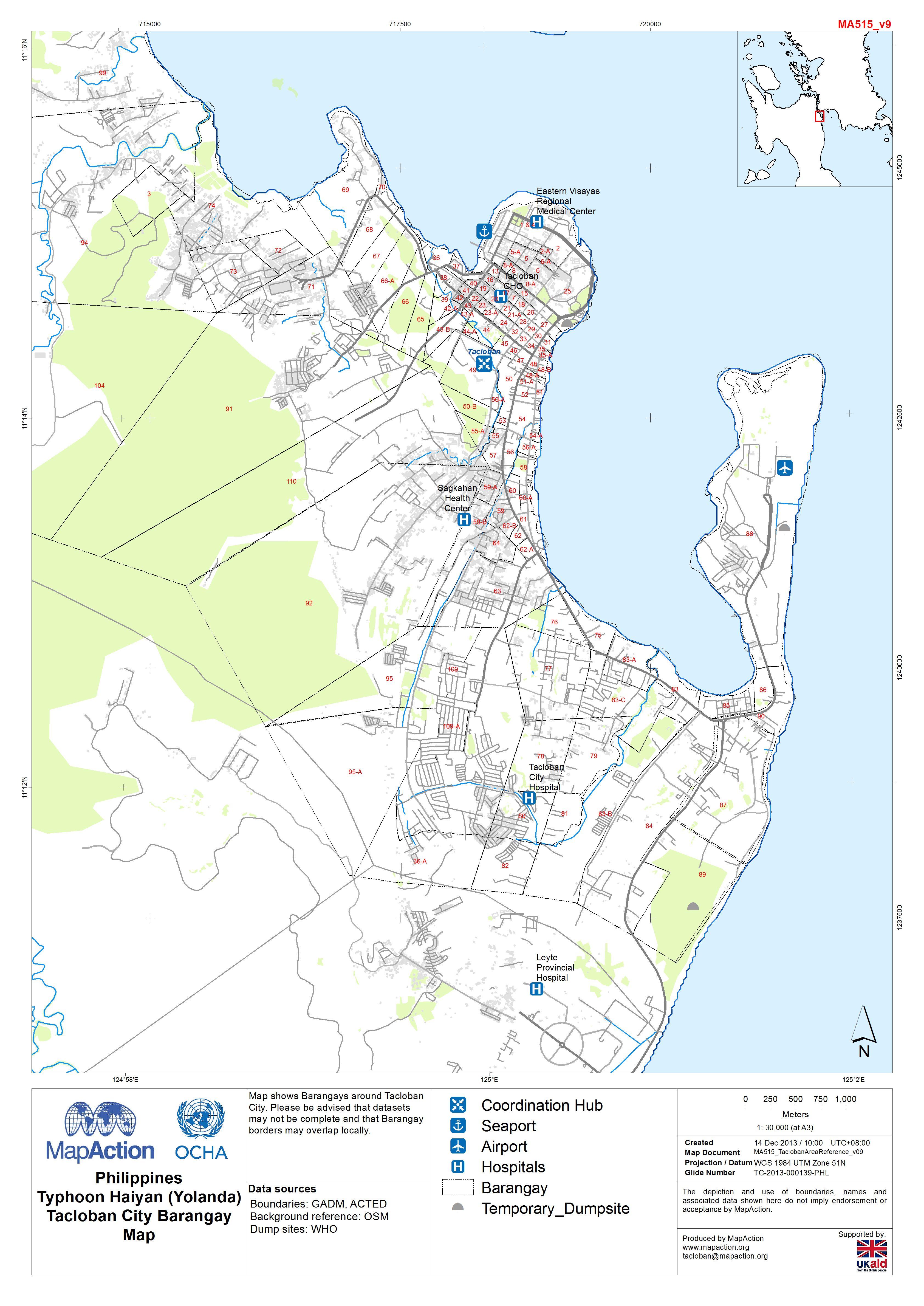 Tacloban Philippines Map.Philippines Typhoon Haiyan Yolanda Tacloban City Barangay Map