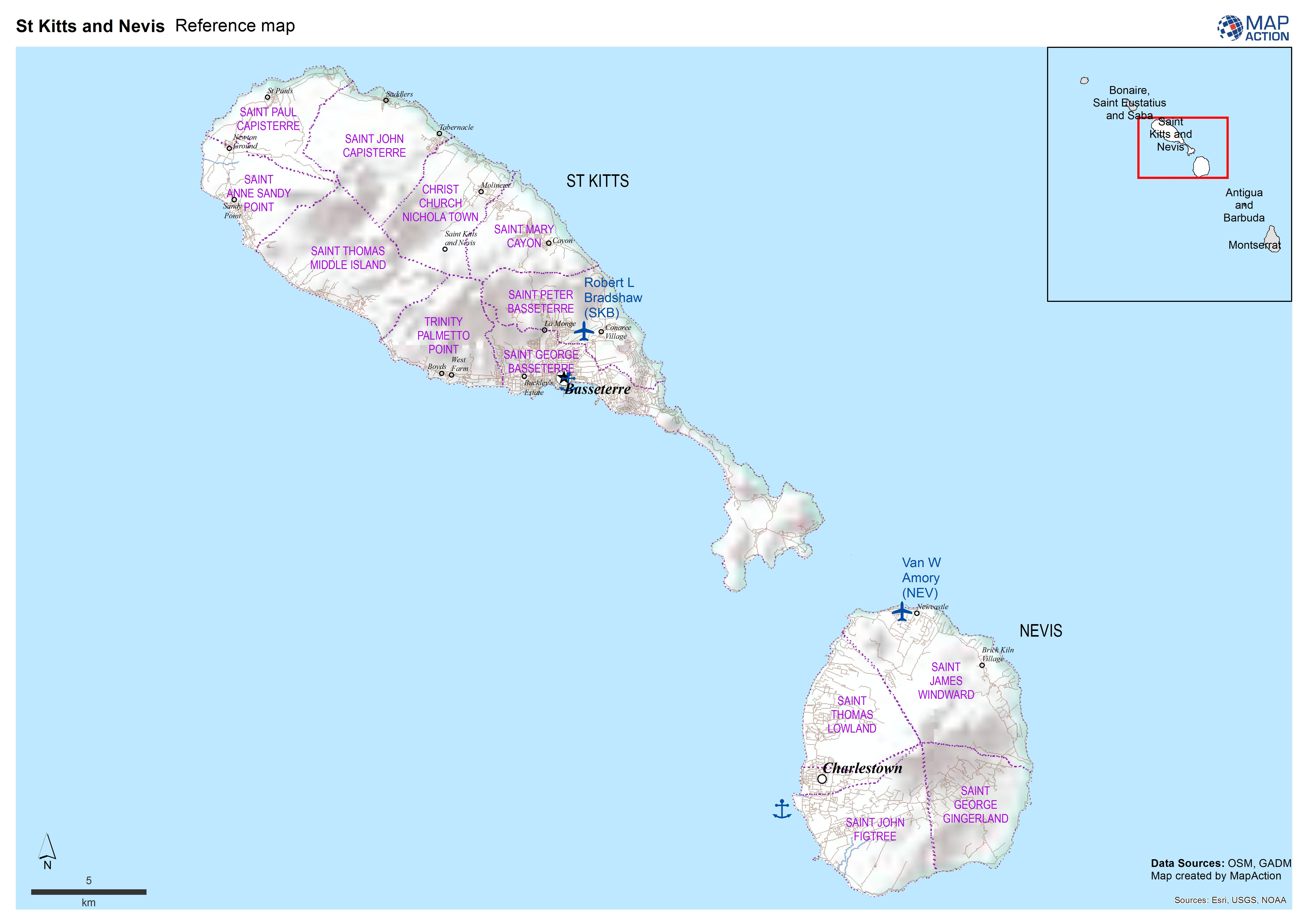 St Kitts and Nevis Reference map - Datasets - MapAction