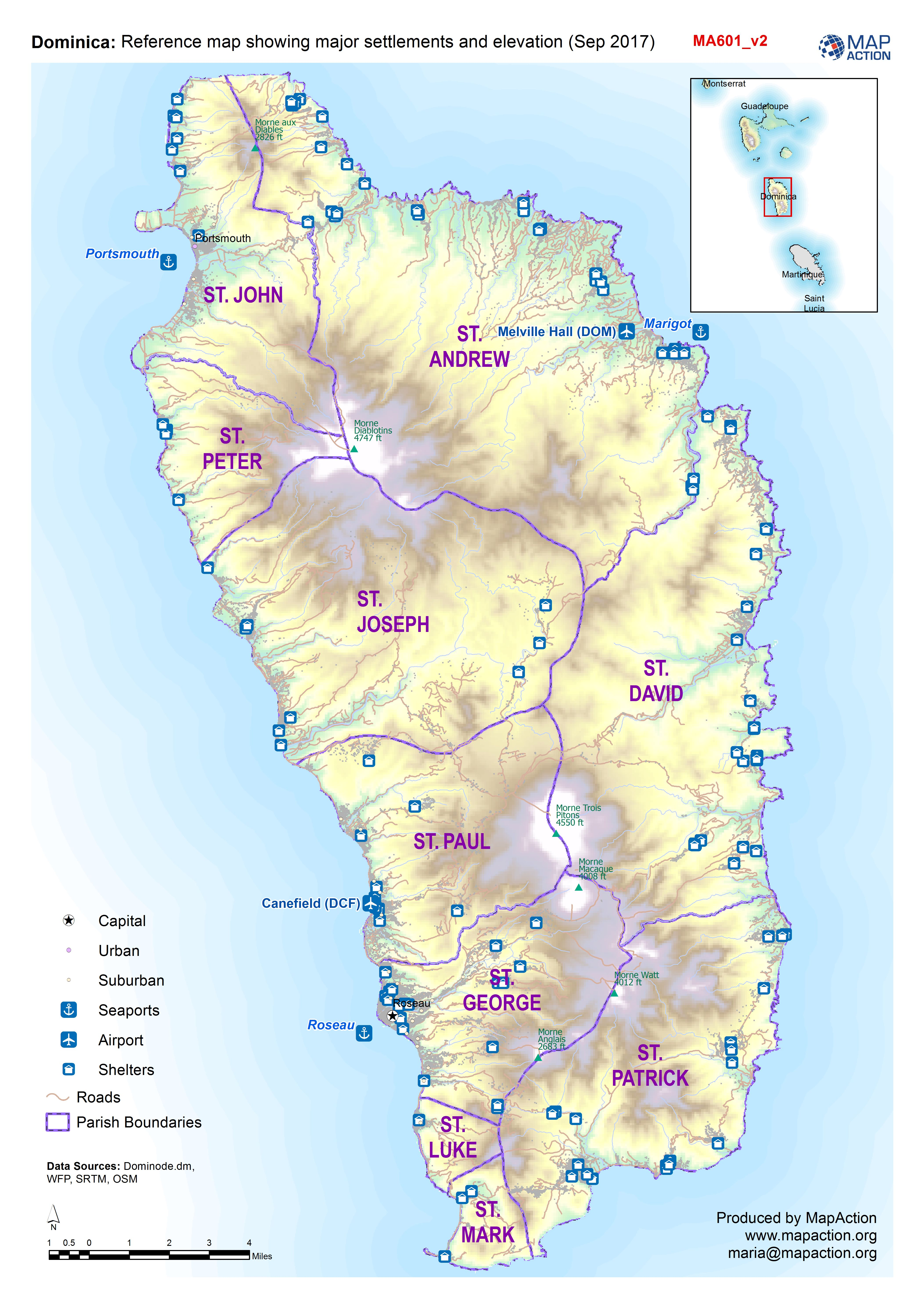 MapAction Organisations MapAction - Physical map of dominica