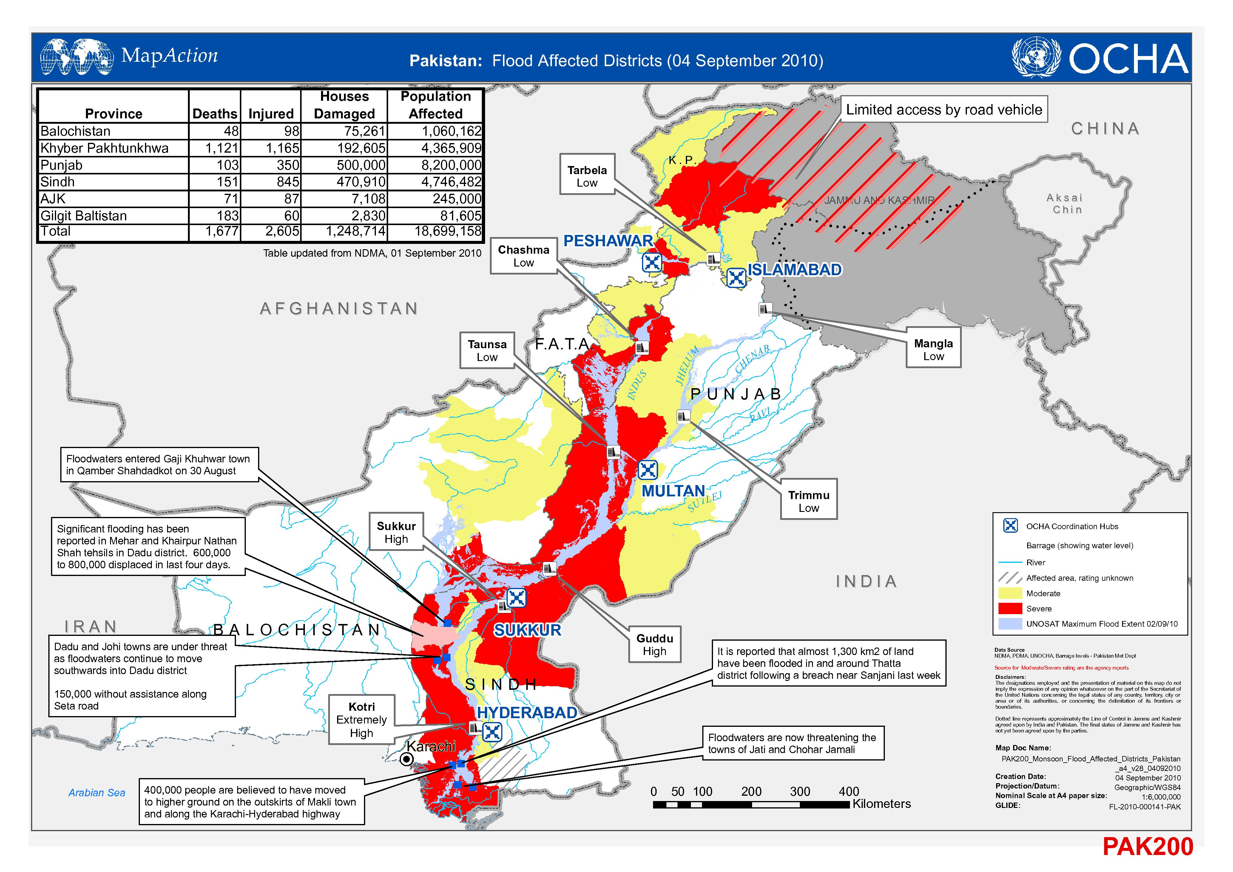 pakistan flood damage assessment of sindh