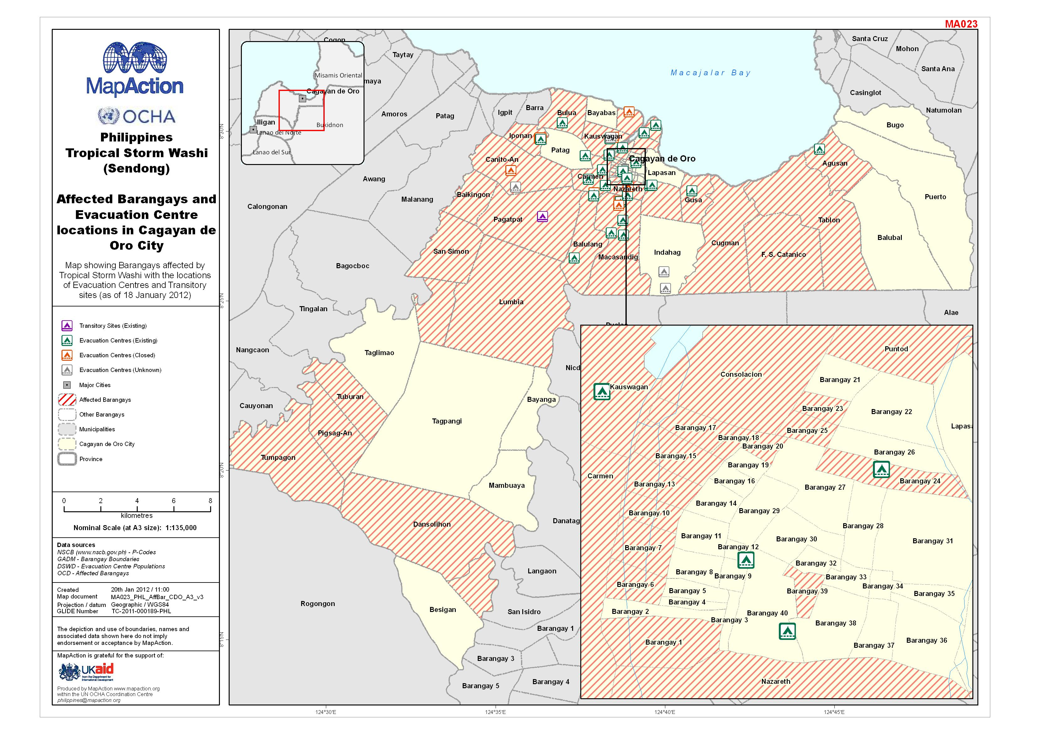Cagayan Philippines Map.Philippines Tropical Storm Washi Sendong Affected Barangays And