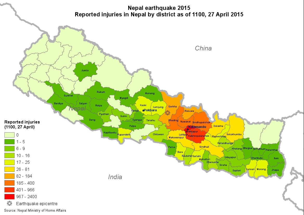 Nepal earthquake reported injuries in nepal by district as of 27 download gumiabroncs Image collections