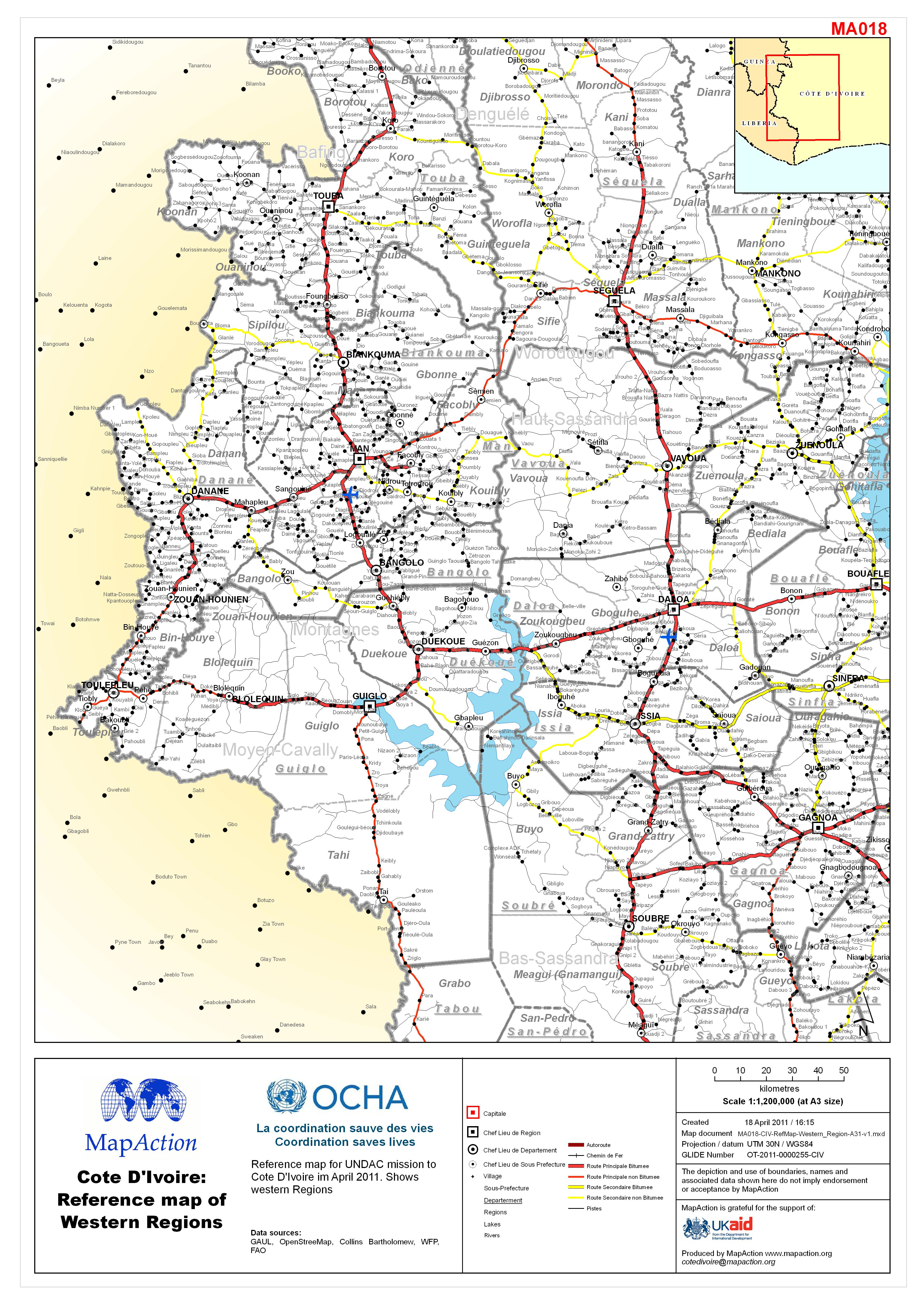 Côte d\'Ivoire: Reference map of Western Regions - Datasets ...