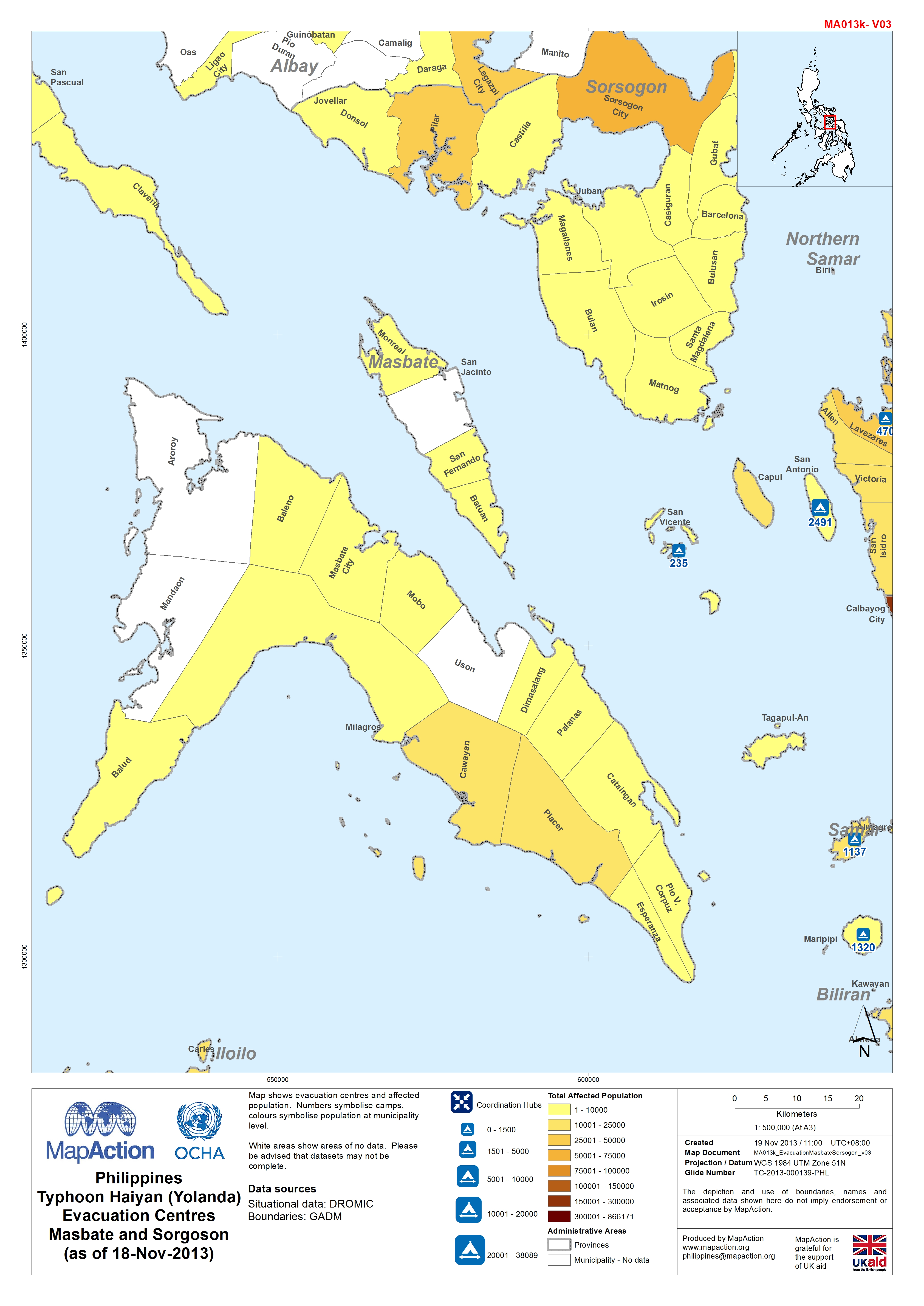 Masbate Philippines Map.Philippines Typhoon Haiyan Yolanda Evacuation Centres Masbate And