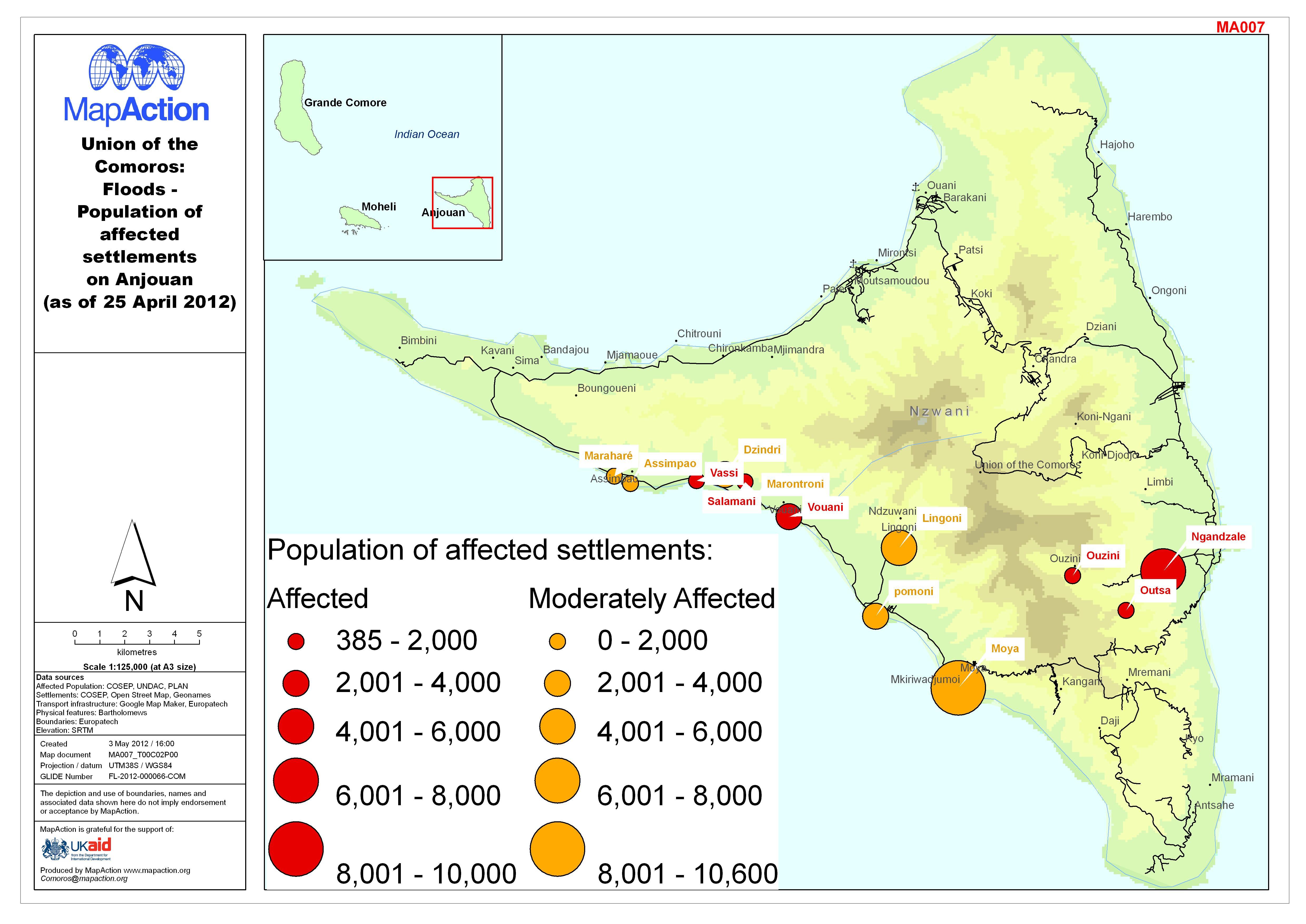 Comoros Floods April MapAction - Comoros map